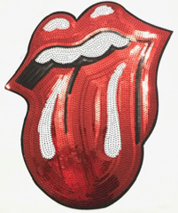 NEW Beautiful Red Sequin Rolling Stone Tongue Patch, Iron On 1