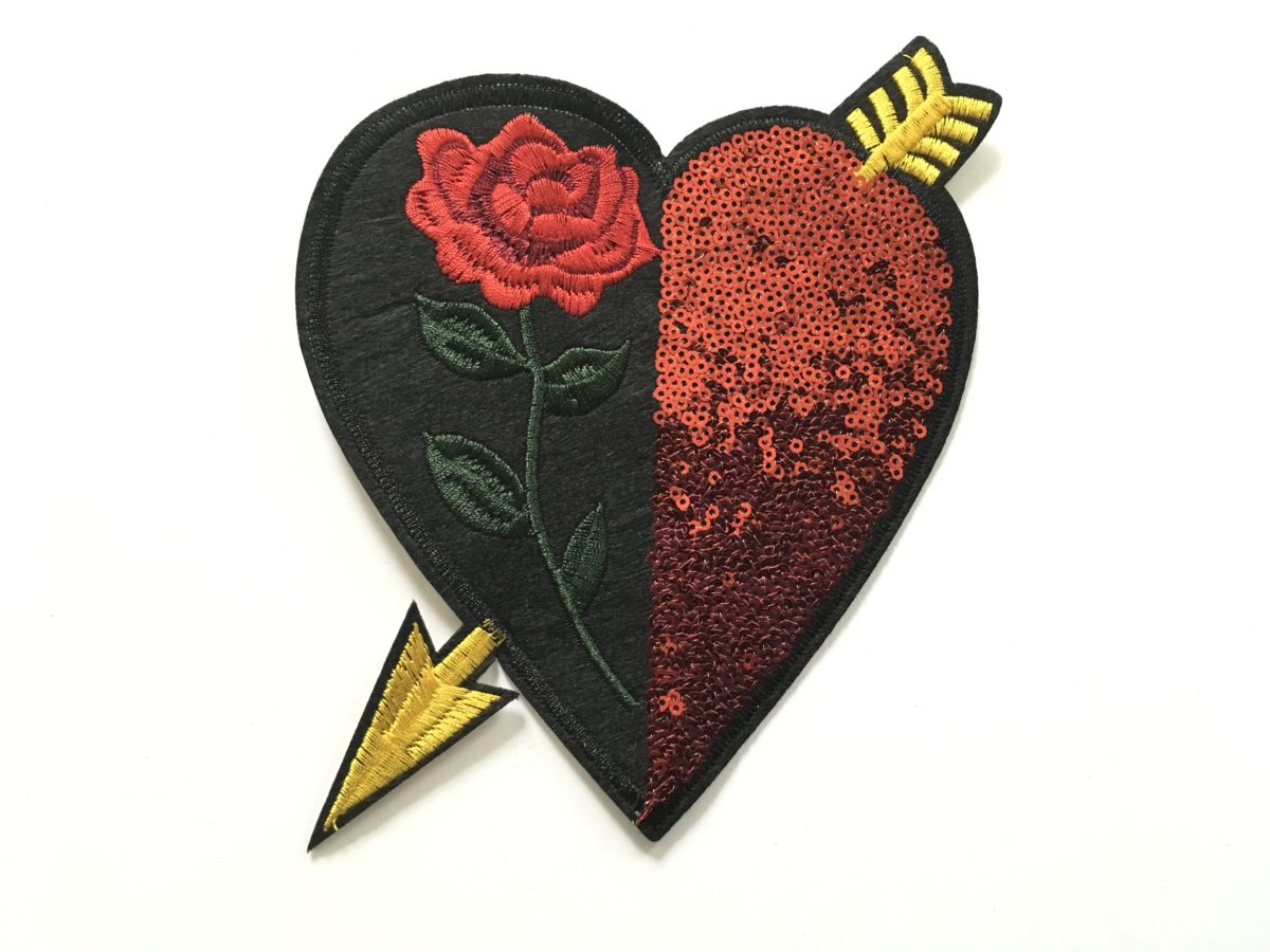 NEW Sequin Heart Patch Appliqué, Iron On 1