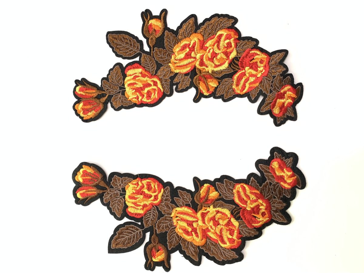 2 pc Large Embroidered Flower Patch Set, DIY, Iron On 1