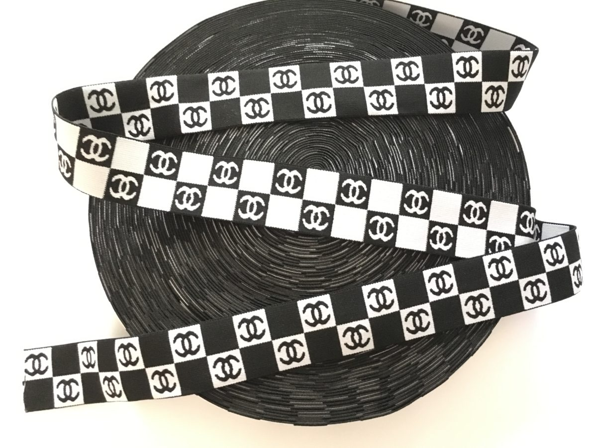 "Chanel Inspired Checkered Design Elastic Trim, 2"" 1"