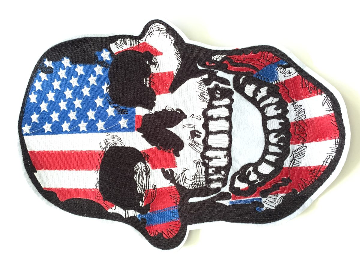 Large Embroidered USA Flag Skull Patch Appliqué, Iron On, Hot Fix, DIY 1