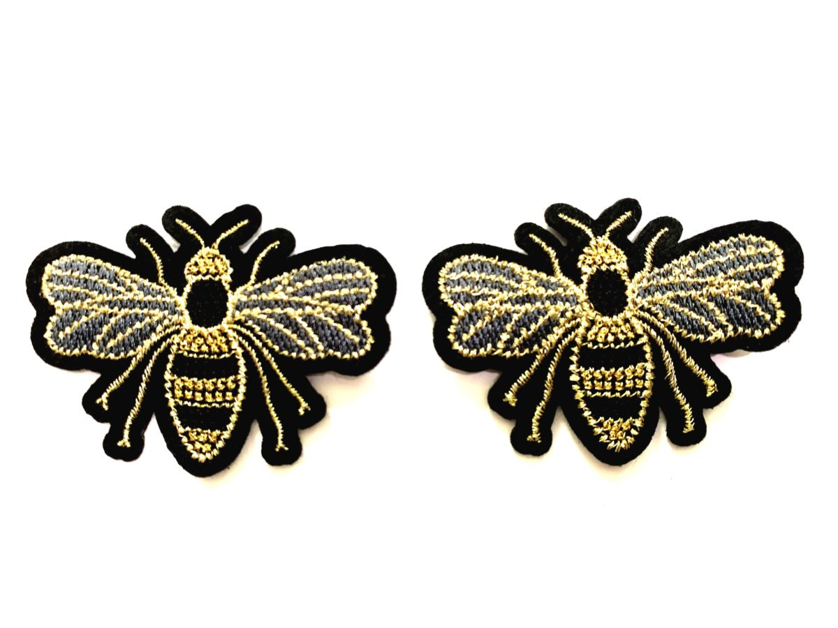 (2) Beautiful Embroidered Bee Patch, DIY, Sew on Patch 1