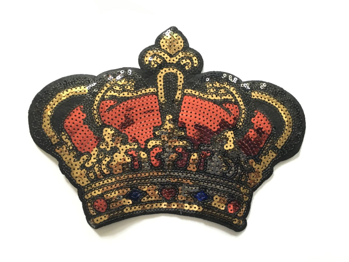 NEW Sequin Crown Patch, Sew On Appliqué 1