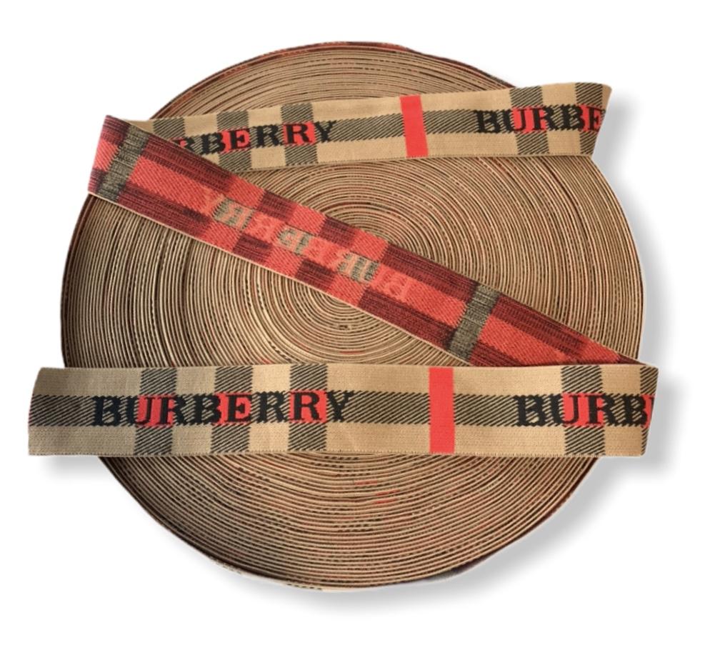 "New Burberry Elastic Trim 1.57"" Designer Inspired Burberry Waistband 1"