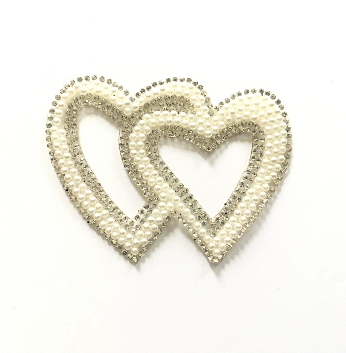 NEW Faux Pearl Rhinestone Heart Patch, Pearl Appliqué Iron On 1