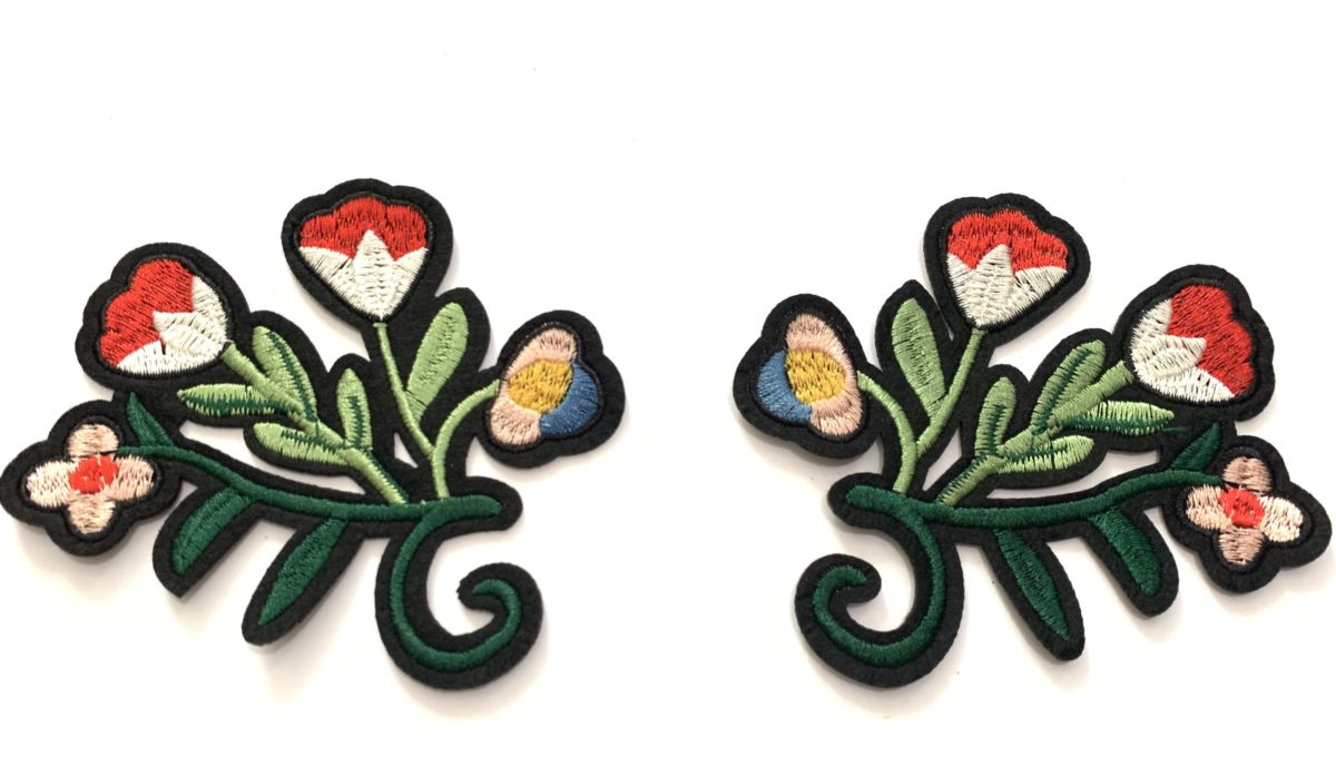 2 pc Beautiful Flower Embroidered Patch Set, DIY, Iron On 1