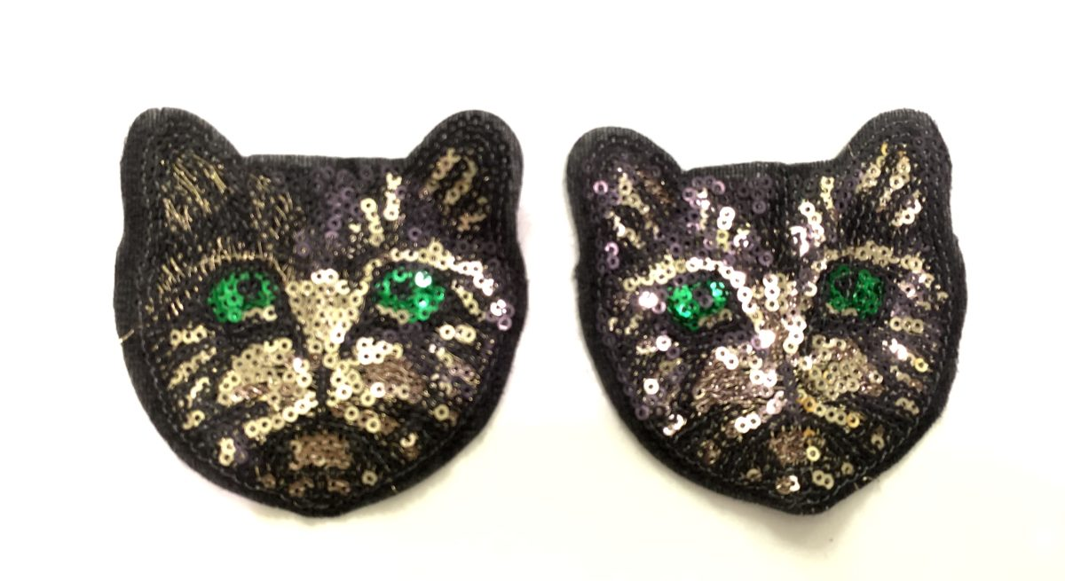 (2) Sequin Love Cat Patches, Sew On 1