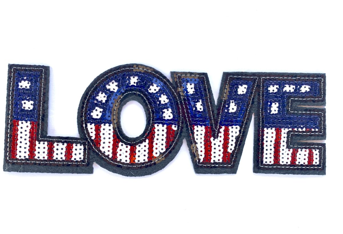 Sequin Love Patch, Iron On, DIY 1