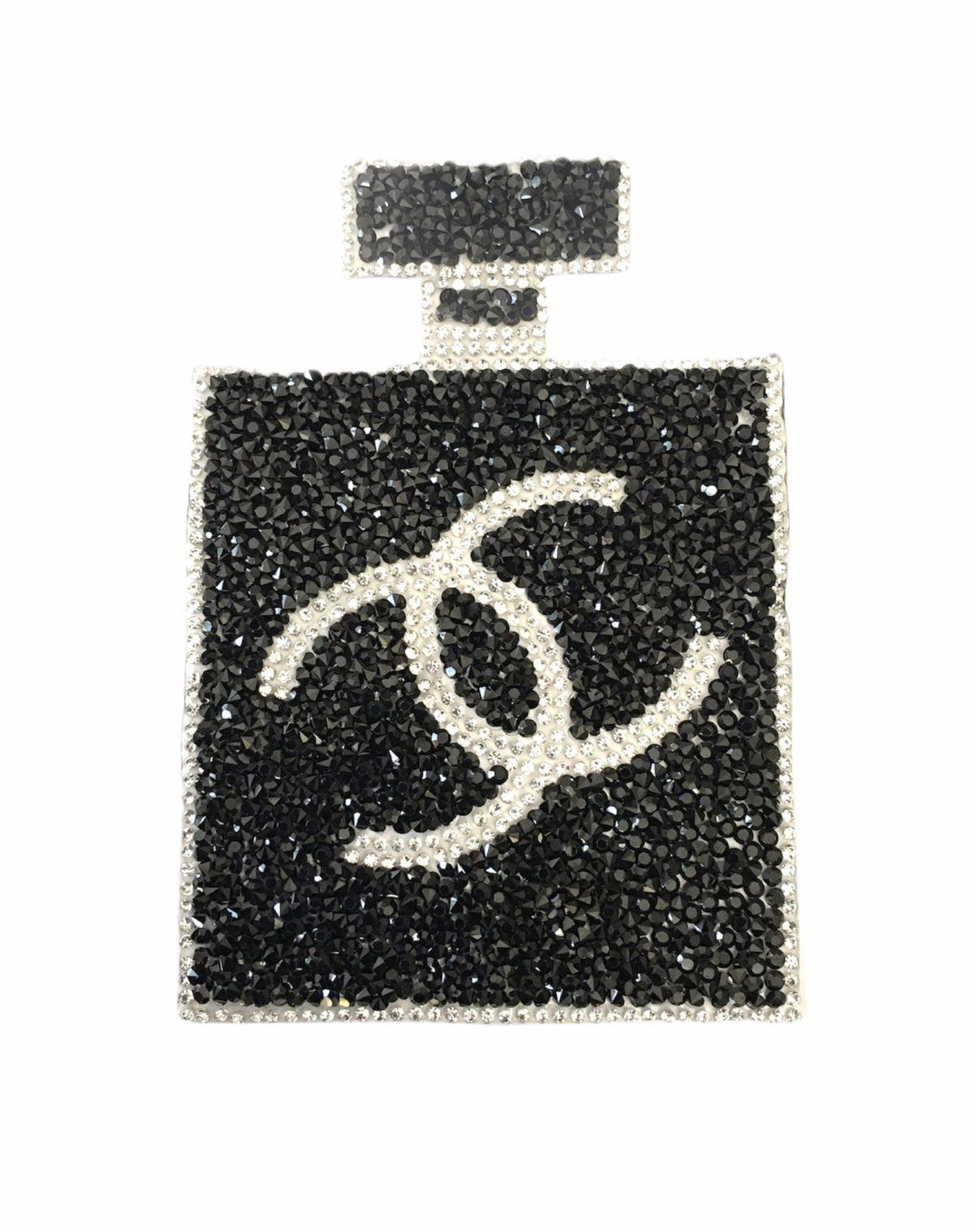 Rhinestone CC Perfume Bottle Patch, Designer Inspired 1