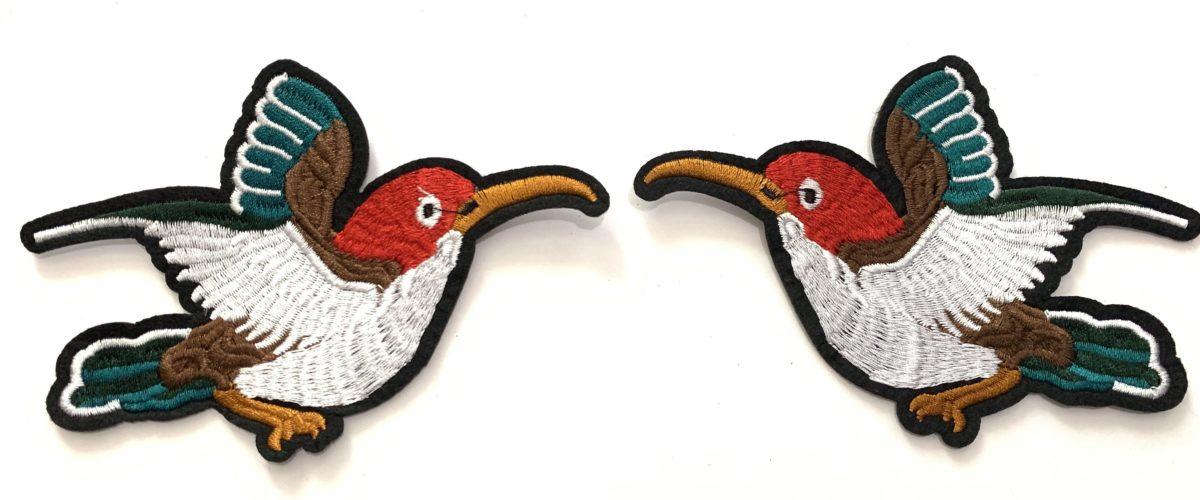 2 pc Beautiful Bird Embroidered Patch Set, DIY, Iron On 1