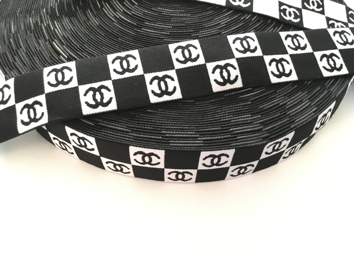 "Chanel Inspired Checkered Design Elastic Trim, 2"" 2"