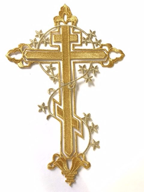 Beautiful Gold Cross Applique DIY, Iron On Patch, Hot fix Patch, Religious Patch 1