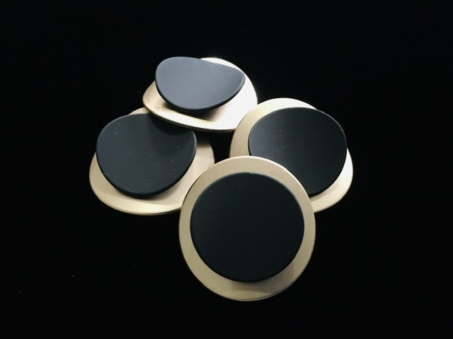 (2) Brass Gold & Black Buttons, Fashion Buttons 2
