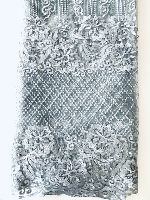 (5) Yards Silver Lace fabric, High quality beading, African Clothing 3