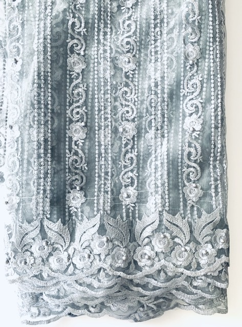 (5) Yards Silver Lace fabric, High quality beading, African Clothing 7