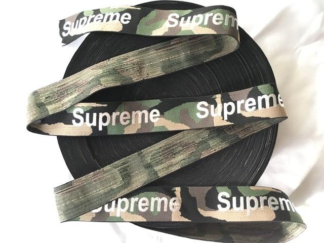 """Supreme Inspired Elastic Trim 1.5"""" Designer Inspired, Camouflage Elastic 1"""
