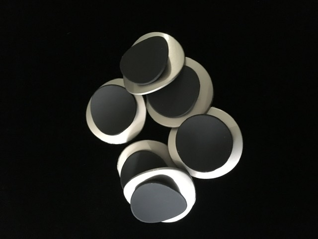 (2) Brass Silver & Black Buttons, Fashion Buttons 1