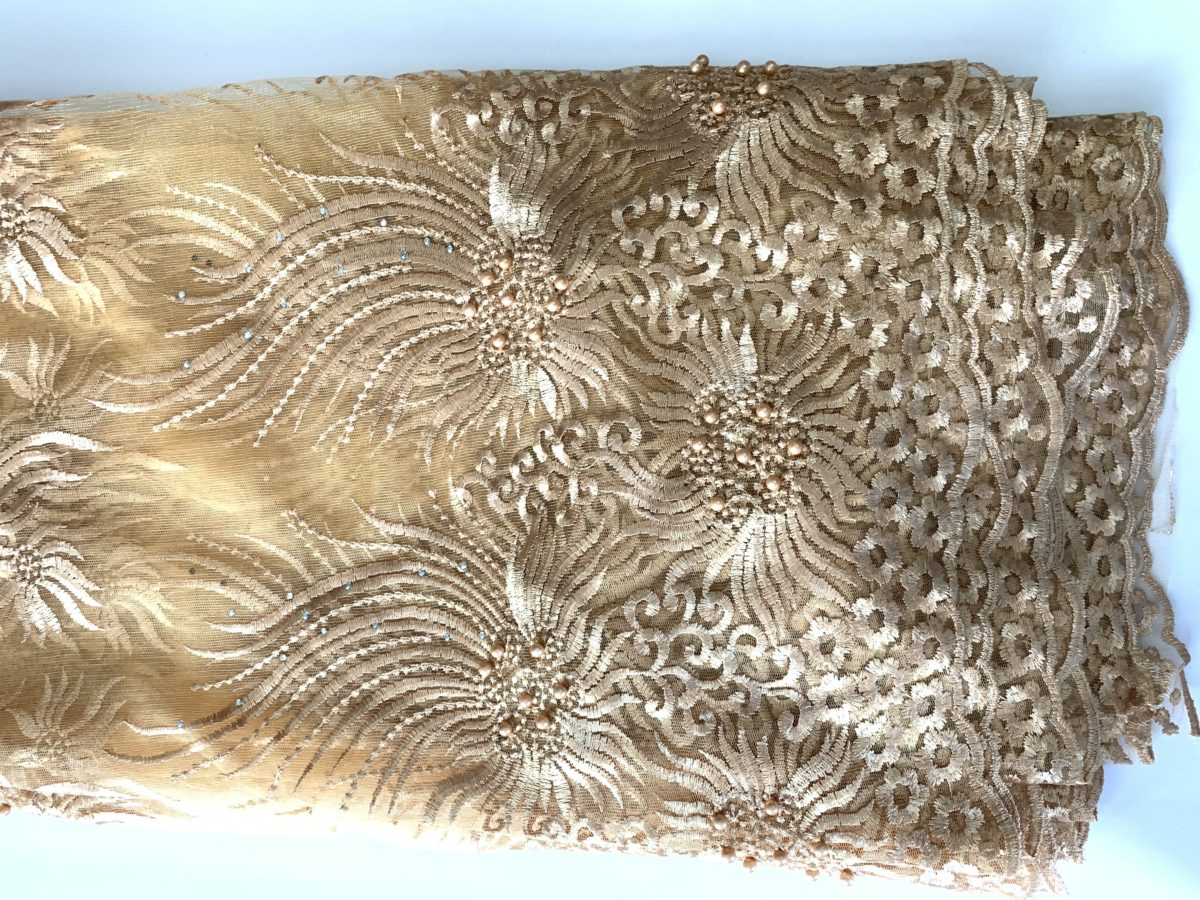 (5) Yards Gold Lace fabric, High quality beading, African Clothing 1