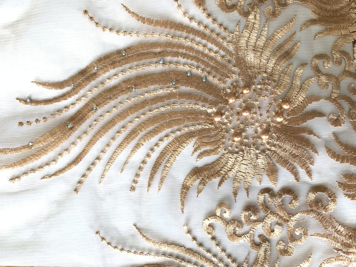 (5) Yards Gold Lace fabric, High quality beading, African Clothing 5