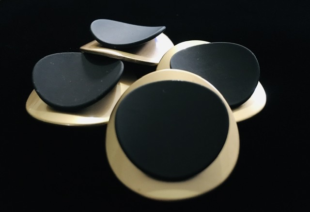 (2) Brass Gold & Black Buttons, Fashion Buttons 3