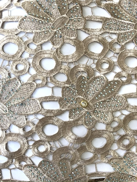 (5) Yards Gold Lace Fabric, High Quality Beading, Embroidered Lace, African Clothing 3
