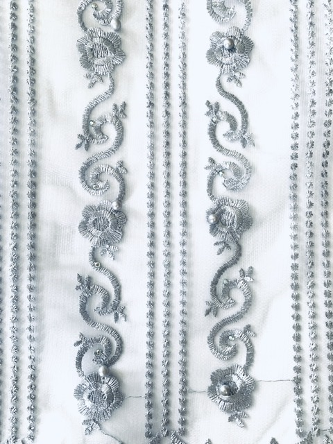 (5) Yards Silver Lace fabric, High quality beading, African Clothing 6