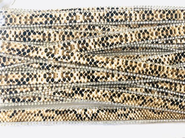 Rhinestone Bling Trim  1.5 cm wide, Animal Print Hot fix Clothing trim, Bling Hat Trim 1