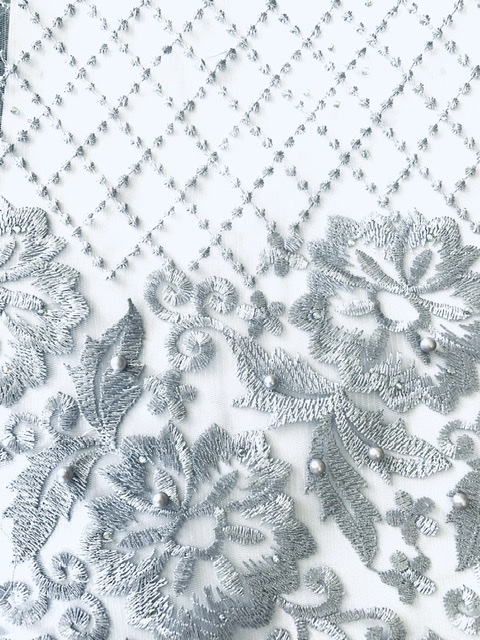 (5) Yards Silver Lace fabric, High quality beading, African Clothing 5