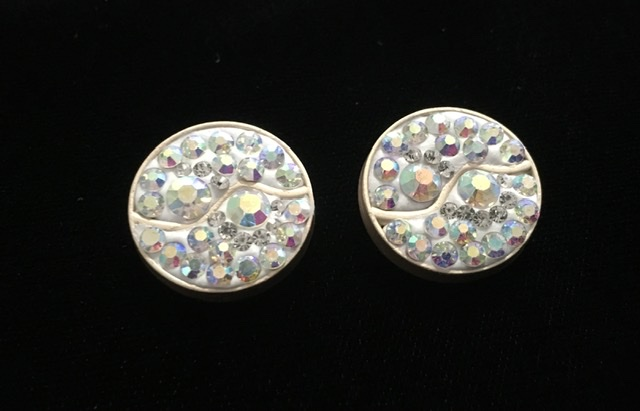 (2) Brass Rhinestone Polymer Clay Buttons, Bling Buttons 2