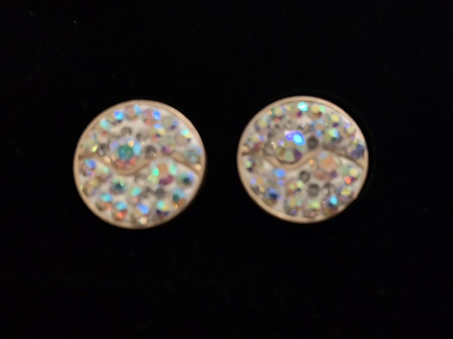 (2) Brass Rhinestone Polymer Clay Buttons, Bling Buttons 4