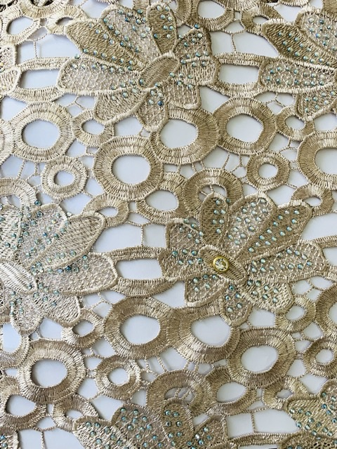 (5) Yards Gold Lace Fabric, High Quality Beading, Embroidered Lace, African Clothing 5