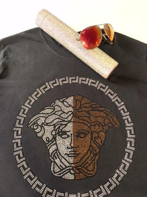 Versace Inspired Bling Rhinestone Fashion T-shirt, Versace Bling, Celebrity Inspired Shirts 3