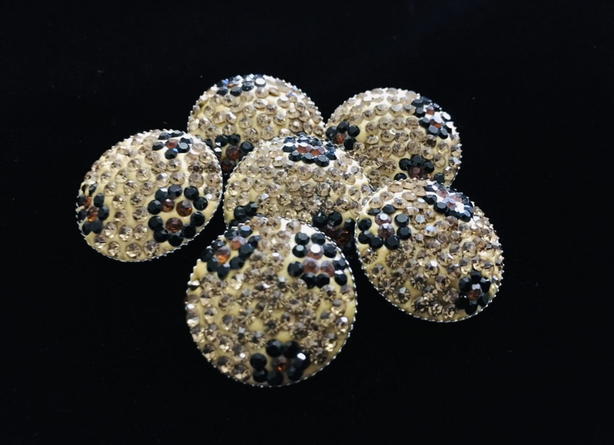 (2) Rhinestone Polymer Clay Buttons, Bling Buttons 1
