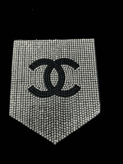 NEW Rhinestone CC Inspired Pocket Patch, Applique,  Iron On, Hot fix CC, DIY clothing 3