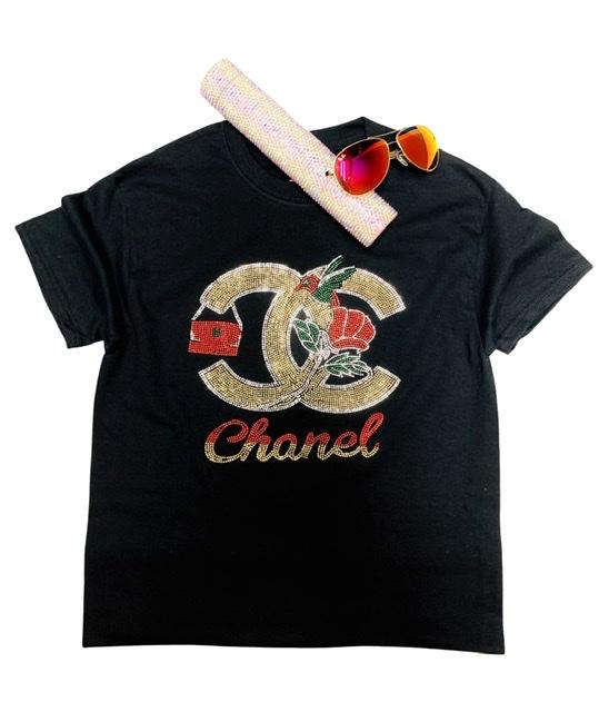 CC Inspired Bling Rhinestone Fashion T-shirt, CC Bling, Celebrity Inspired Shirt 1