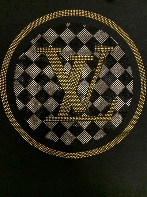 LV Inspired Bling Rhinestone Fashion T-shirt, LV Celebrity Inspired Shirts 2