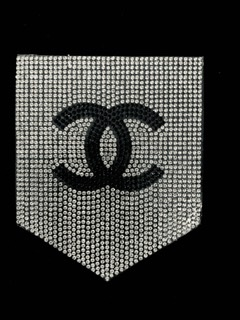 NEW Rhinestone CC Inspired Pocket Patch, Applique,  Iron On, Hot fix CC, DIY clothing 2