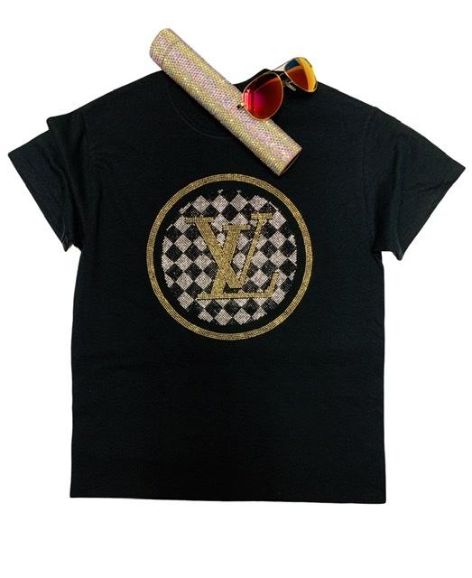 LV Inspired Bling Rhinestone Fashion T-shirt, LV Celebrity Inspired Shirts 1