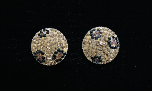 (2) Rhinestone Polymer Clay Buttons, Bling Buttons 2