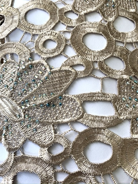 (5) Yards Gold Lace Fabric, High Quality Beading, Embroidered Lace, African Clothing 4