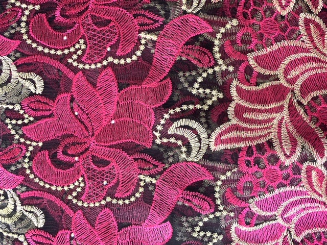 (5) Yards Black & Fuchsia Lace fabric, High quality beading, African Clothing 2