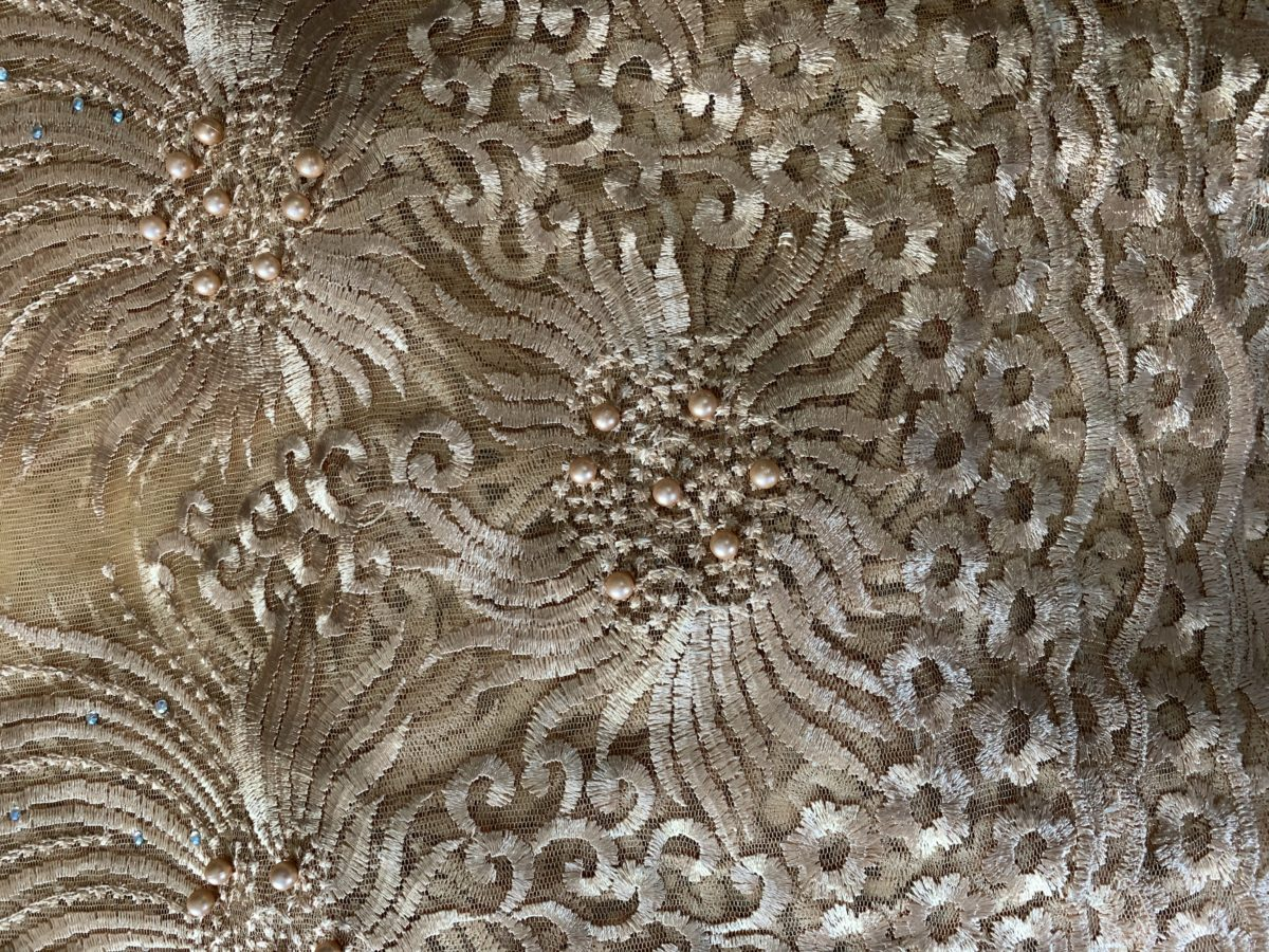 (5) Yards Gold Lace fabric, High quality beading, African Clothing 4