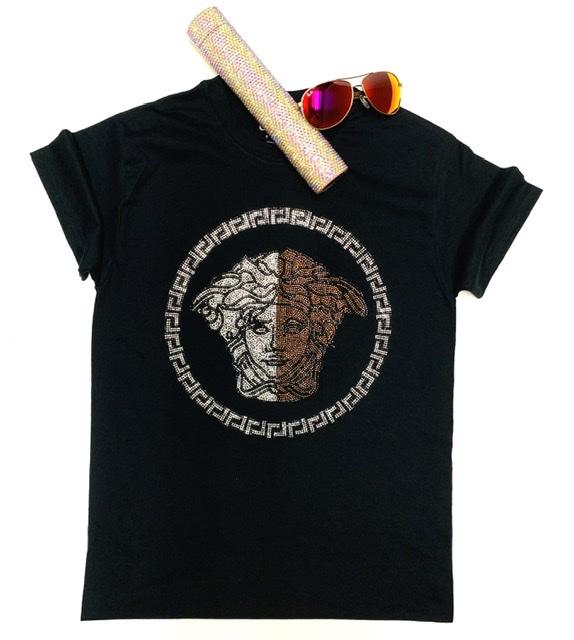 Versace Inspired Bling Rhinestone Fashion T-shirt, Versace Bling, Celebrity Inspired Shirts 1