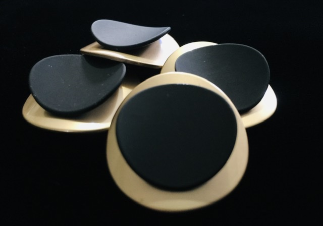 (2) Brass Gold & Black Buttons, Fashion Buttons 1