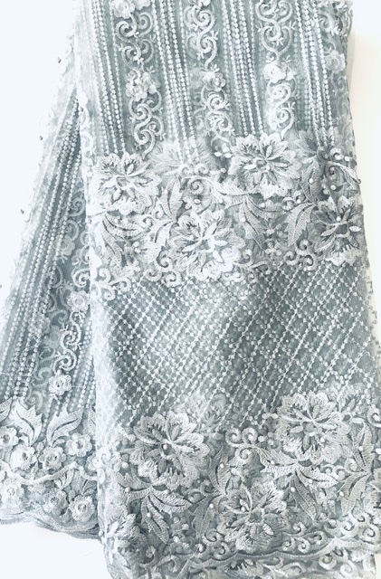 (5) Yards Silver Lace fabric, High quality beading, African Clothing 1