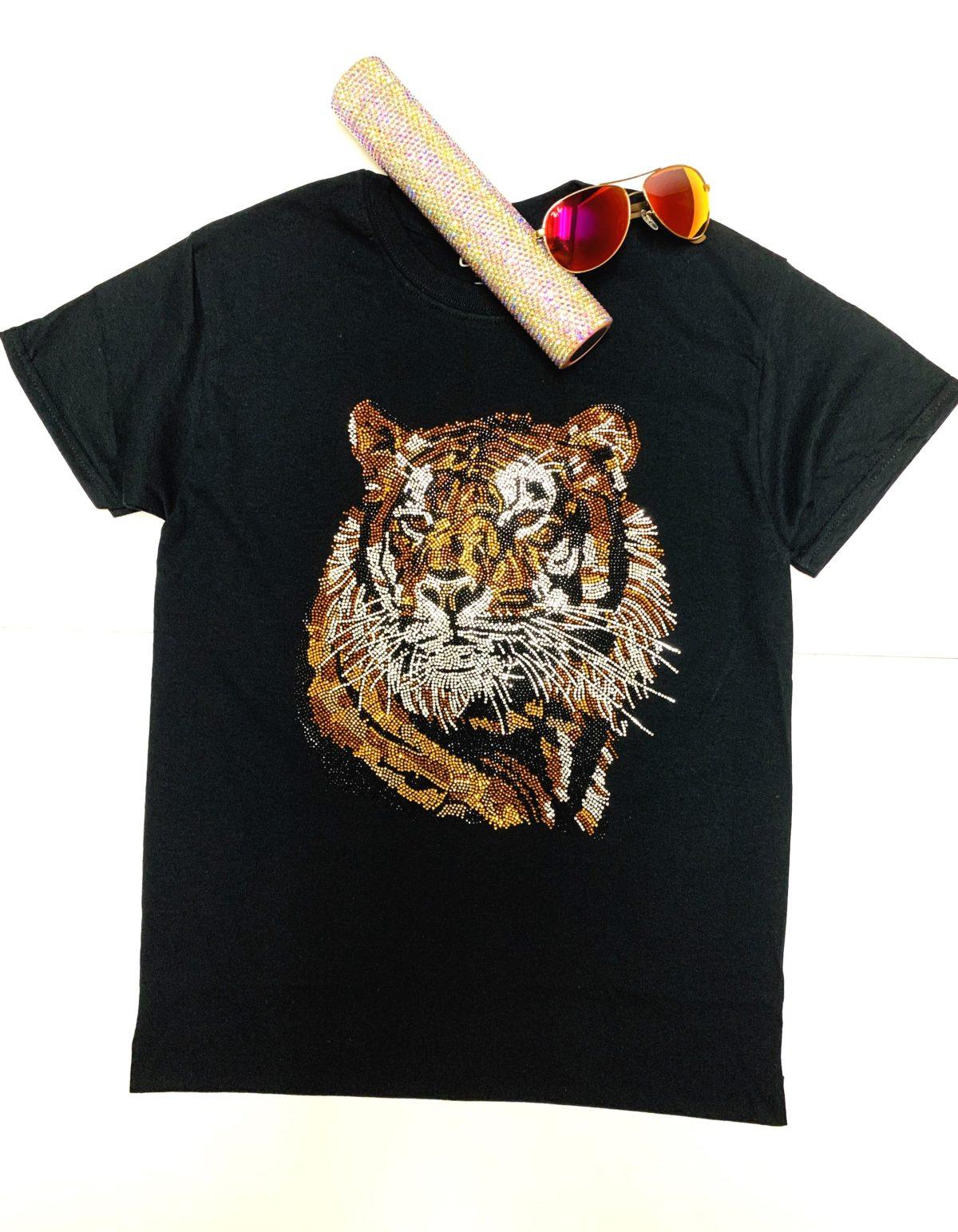 Tiger Bling Rhinestone Fashion T-shirt, Celebrity Inspired Shirts 1