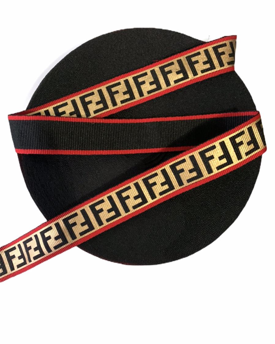 "Designer Inspired Fendi Ribbon 1"" (1 Yard) 1"