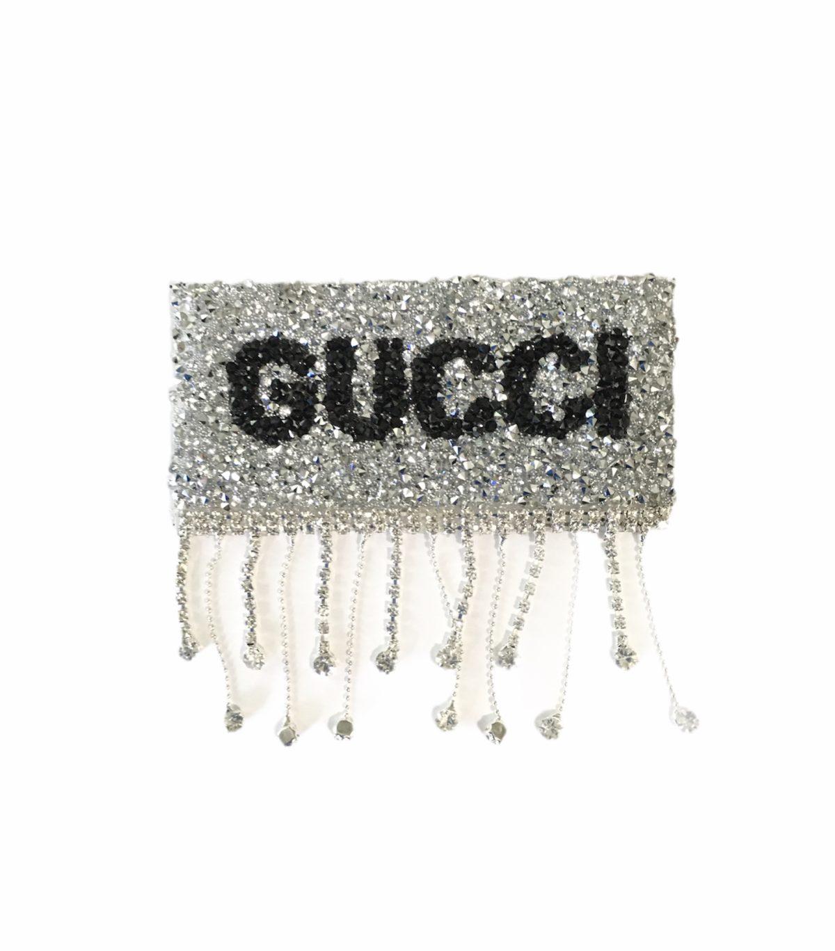 NEW Rhinestone Gucci Patch, Dangle Iron On Hotfix Patch 1