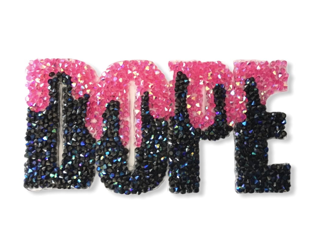 Wholesale Custom Rhinestone DOPE patch, Iron On Patch, Hotfix (12 pcs) 1