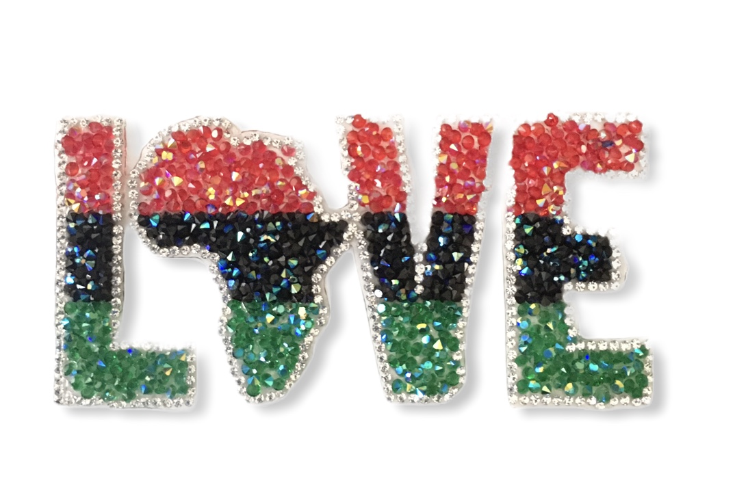 Custom Rhinestone LOVE patch, Iron On Patch, Hotfix 1